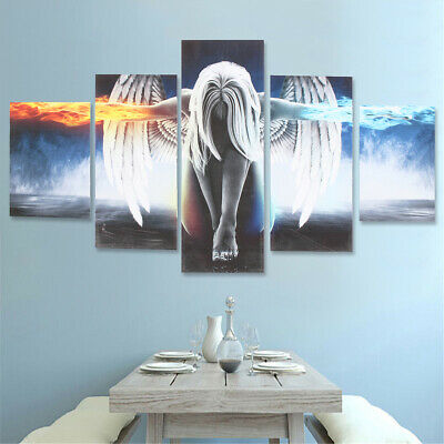 5Pcs Modern Angel Ice&Fire Canvas Print Art Painting Wall Picture Home Decor US
