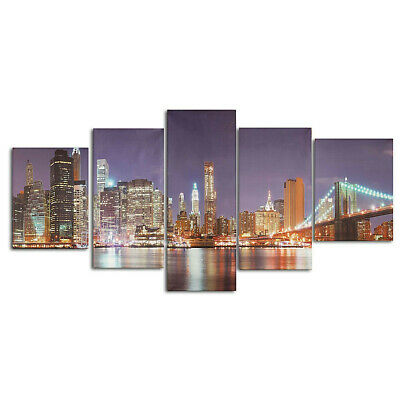 5Pcs Cityscape Night Canvas Art Print Painting Picture Home Wall Decor