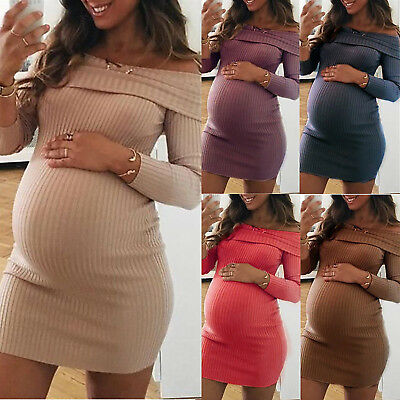 Pregnant Womens Off Shoulder  Jumper Dress Maternity Stretch Bodycon Ribbed Knit
