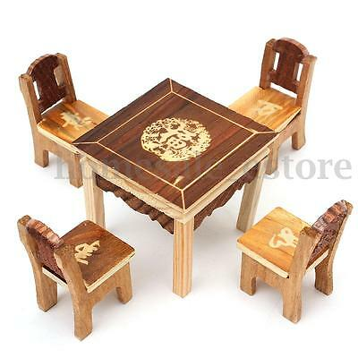 1pc Table & 4pcs Chair Wooden Dollhouse Miniature Furniture Mini Dining Room