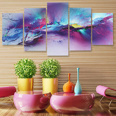 5Pcs Framed Purple Light Canvas Print Painting Picture Abstract Home Wall