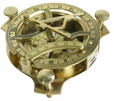 Solid Brass Sundial Compass Maritime Vintage West London Compass Nautical