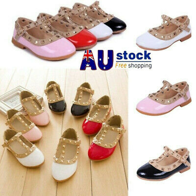 Kids Girls Flat Shoes Rivet T-strap Sandals Toddler Pointed Toe Party Wedding AU