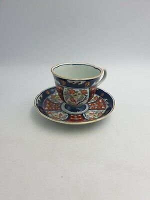 Japanese Arita Imari Ware Fine Porcelain Cup Saucer Duo Hand Pained Floral Gold