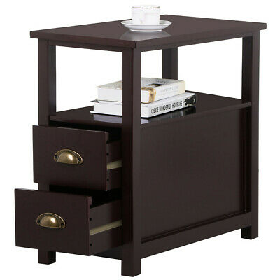 Chairside End Table with 2 Drawers Narrow Nightstand Lamp Table Bedsid Tables