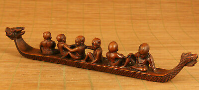 Antique old boxwood hand carving 6 child row dragon boat statue figue decoration