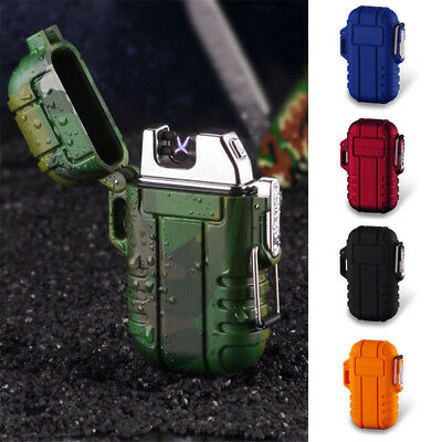 Waterproof Electronic USB Lighter Outdoor Windproof Flameless Double Arc Plasma