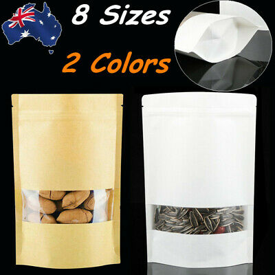 Kraft Paper Resealable Zip Lock Foil Storage Bag Pouch Stand Up Heat Seal Brown