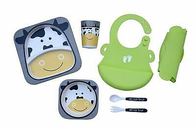 Toddler Plates Set with Silicone Bibs. 5-Piece Dinner Set Plate, Bowl, Cup, Fork