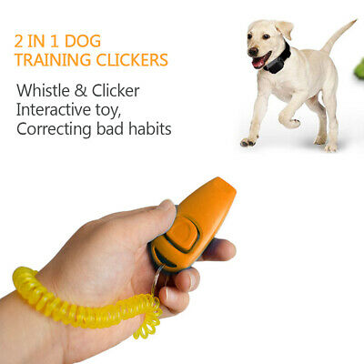 2pcs Dog Training Clickers 2 in 1 Whistle and Clicker Pet Training Tools V1I3