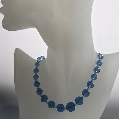 Lovely vintage Art Deco Light Blue and White Glass Bead Graduated Necklace