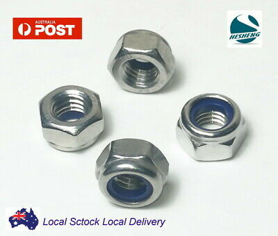 M3 M4 M5 M6 M8 Stainless Steel 304 A2 Hex Nyloc Nut Nylon Insert Lock Nuts