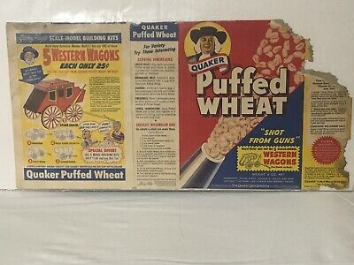 Vintage 1953 Quaker Puffed Wheat Cereal Box Shot from Guns Western Wagons