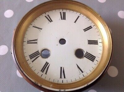 Antique Clock Brass Bezel Enamel Dial Thick Bevelled Glass 112mm Diam.