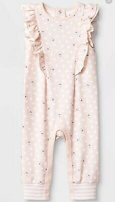 Baby Girls' peach pink Sleeveless Ruffle flutter Bunny Long Romper Cat & Jack