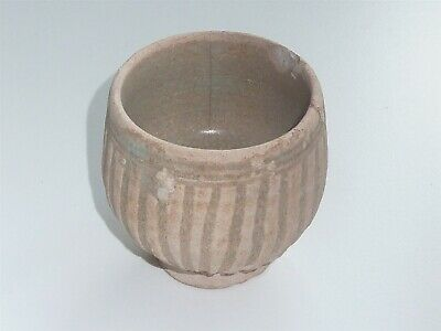 6.75cm TALL CHINESE MING DYNASTY ROUND BODIED VASE WITH FLUTED EXTERIOR