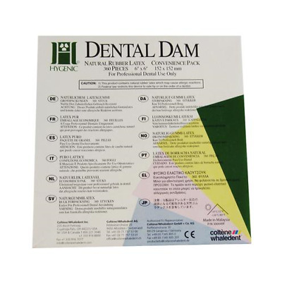 "Coltene Whaledent H04243 Hygenic Rubber Dental Dams 6"" x 6"" Medium Light 360/Bx"