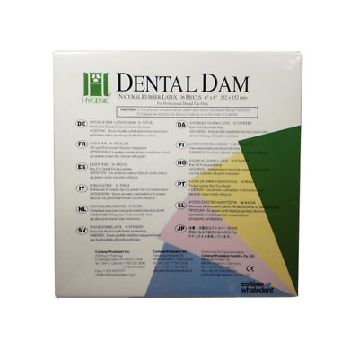 "Coltene H04639 Hygenic Fiesta Rubber Dental Dams 6"" x 6"" Thin Assorted 36/Pk"