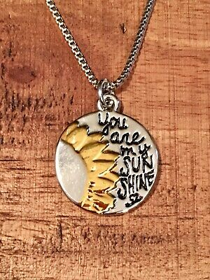 """Rustic Sunshine Charm Necklace-You Are My Sunshine-18"""" Chain-Women's SHIP FREE"""