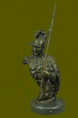 Native American Indian Warrior Handmade Bronze Sculpture Statue Western Hotcast