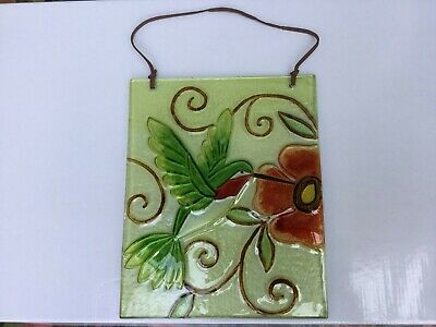 Decorative tile very good condition red flower and bird