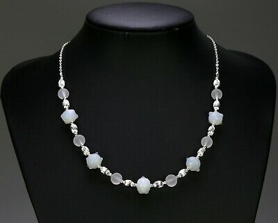 Pale orange clear & white glass bead necklace, champagne crystal, silver chain