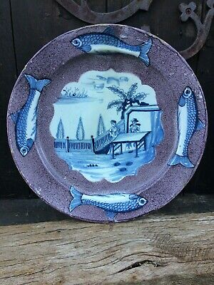 superb english delft herring charger 1740 delftware faience 18thcentury 18eme