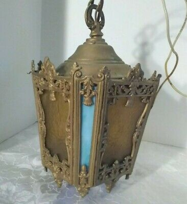 Vintage/antique Brass & Slag Glass Hanging Ceiling Light Fixture