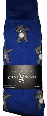 New Marc Ecko Mens Pair Of Novelty Crew Socks BLUE With DABBING BEAR, Funny