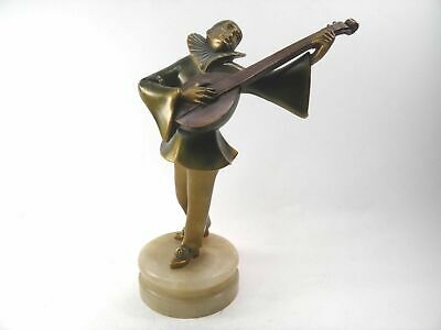 Antique Art Deco cold painted spelter figure Pierrot playing the mandolin
