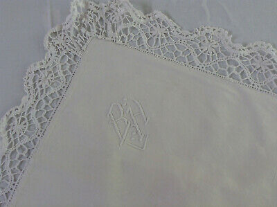 Antique/Vintage French pillow sham lovely Metis linen hand sewn mono BH lace