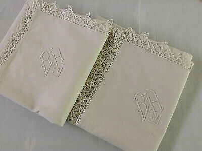 Pair Antique/Vintage French pillow sham lovely Metis linen hand sewn mono BH