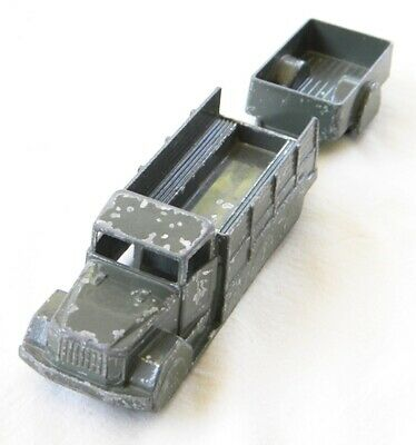 """Vintage Midgetoy Army Troop Carrier And Trailer 7 1/4"""" Total Length Free Ship"""