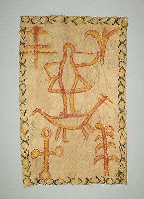 Original Old Vtg 1970s Hand Painted Tapa Cloth Pacific Rim Philippines Native