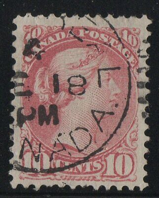 MOTON114    #45 Small Queen 10c Canada used well centered XF