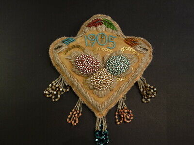 Antique Iroquois Whimsey Beaded Pin Cushion Native American Art Dated 1905 (2)