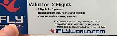 ifly dallas 2 flight with rental of suit, helmet and goggles. Never expires.