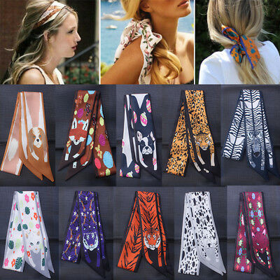 Fashion Cute Animals Print Women Satin Thin Head-Neck Scarf Hair Tie Wrist Band