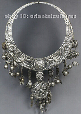 Vintage tribal exotic ethnic chinese handmade miao silver necklace