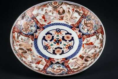 Old imari Porcelain 18th Edo Period Japanese hand painted 15.7in. dish ware F/S