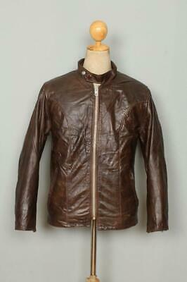 Vtg 70s SCHOTT Fleece Lined CAFE RACER Leather Motorcycle Jacket Small