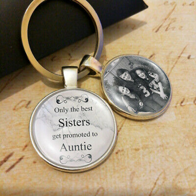 Personalised Sister Auntie Photo Keyring Keychain Promoted to Gifts & Pillow Box