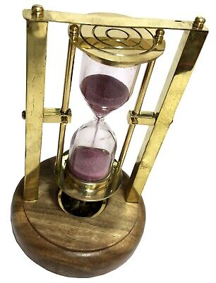 Maritime Brass Sand Timer w Compass Antique Decor Accessory Old Hourglass ST 027