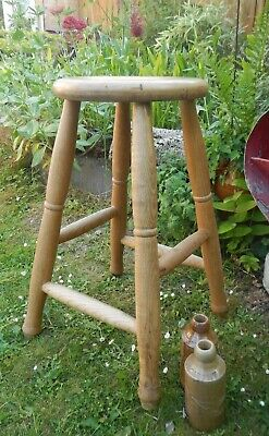 Antique Tall Light Oak Country Work Stool~Turned Legs~Lovely Patina~Makers Mark