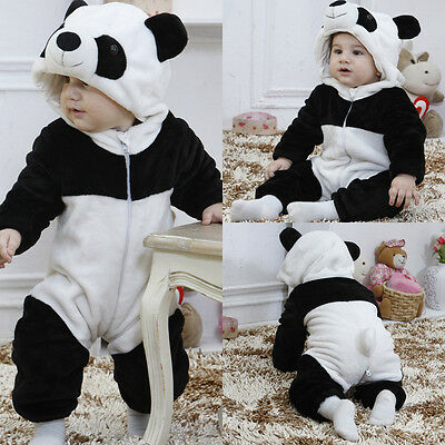 Kids Baby Boy Girl Kids Warm Winter Panda Animal Overall Thicken Romper Clothes