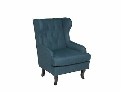 Modern Wingback Armchair Buttoned Blue Fabric Recessed Arms Alta