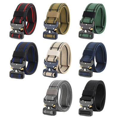 Men Tactical Belt Nylon Breathable Military Webbing Belts with Metal Buckle
