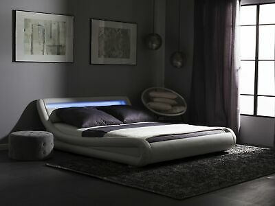 Faux Leather King Size Bed with LED White AVIGNON