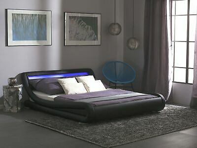 Faux Leather Super King Bed with LED Black AVIGNON