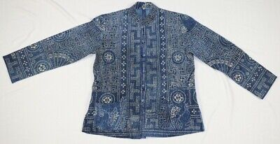 Vintage tribal exotic chinese miao people' local cloth hand batik costume jacket